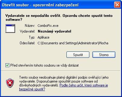 Upozornění zabezpečení při otevírání souboru