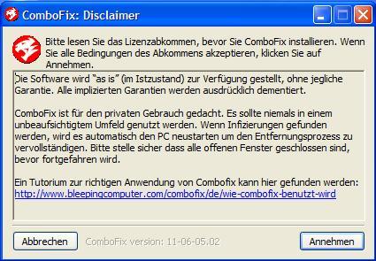 ComboFix Haftungsausschluss