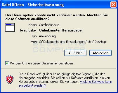 Windows Datei öffnen Sicherheitswarnung