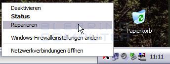 Repariere Internetverbindung über das Taskbar-Piktogramm