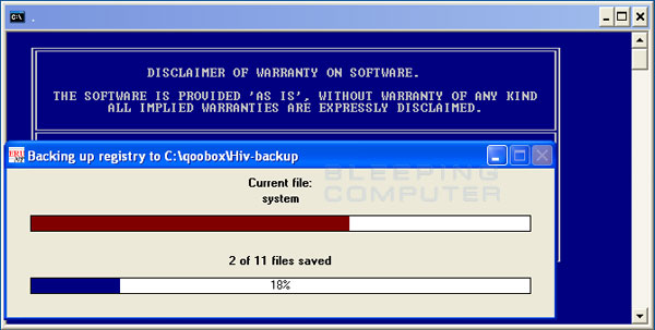 ComboFix is backing up the Windows Registry
