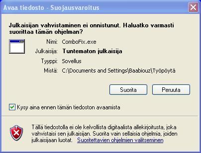 Windowsin Avaa tiedosto - Suojausvaroitus