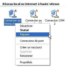 Réparer la connexion Internet