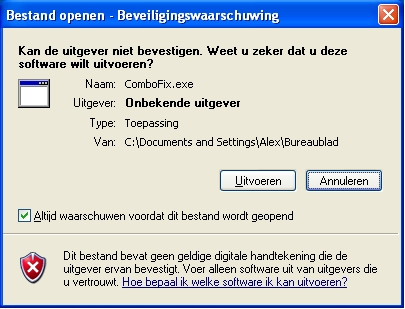 Waarschuwing Windows Open Bestandsveiliging