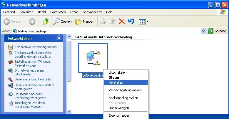 Herstel Internet Verbinding