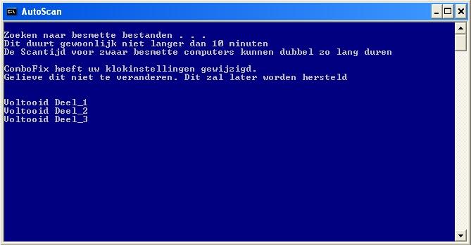 Stadia van de ComboFix AutoScan