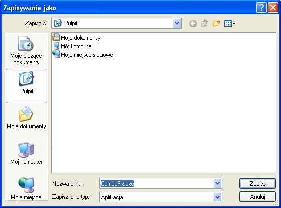 Zapisanie programu ComboFix na Pulpicie
