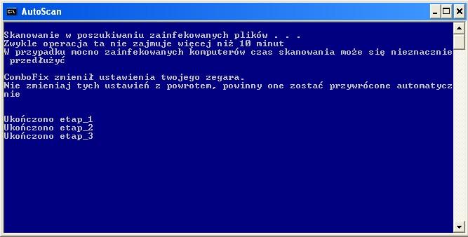 Etapy skanowania programu ComboFix