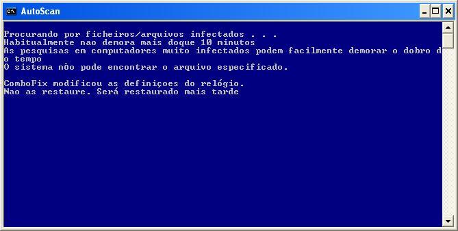 ComboFix está varrendo seu computador por infecções