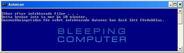 Konsolfönstret 'Autoscan' - ComboFix genomsöker datorn efter infektioner