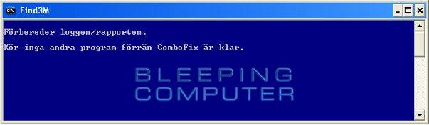 Konsolfönstret 'Find3M' - ComboFix förbereder loggen/rapporten