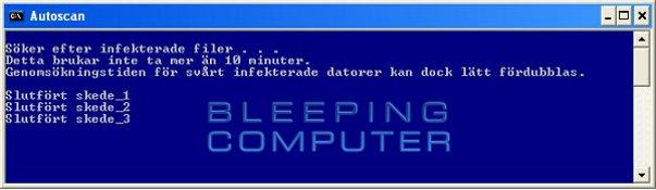 Konsolfönstret 'Autoscan' - Skeden i ComboFix genomsökningen