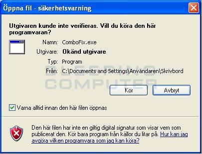 Meddelandrutan 'Öppna fil - säkerhetsvarning'