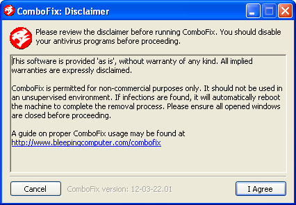 ComboFix Disclaimer screen
