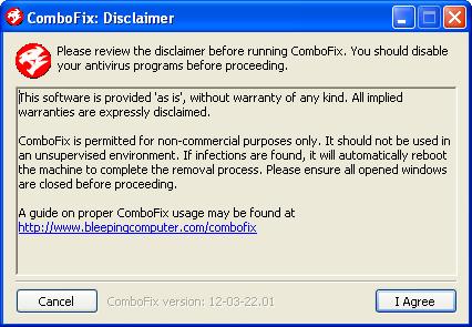 ComboFix Disclaimer screen
