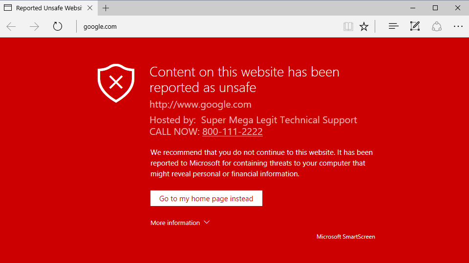 Fake warning asking users to call a tech support number