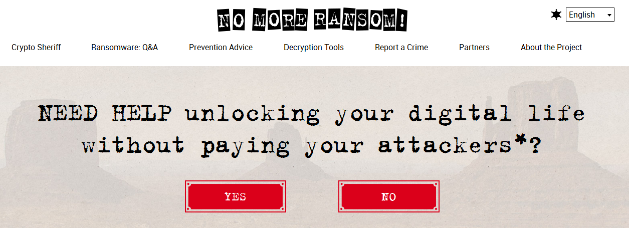 No More Ransom homepage