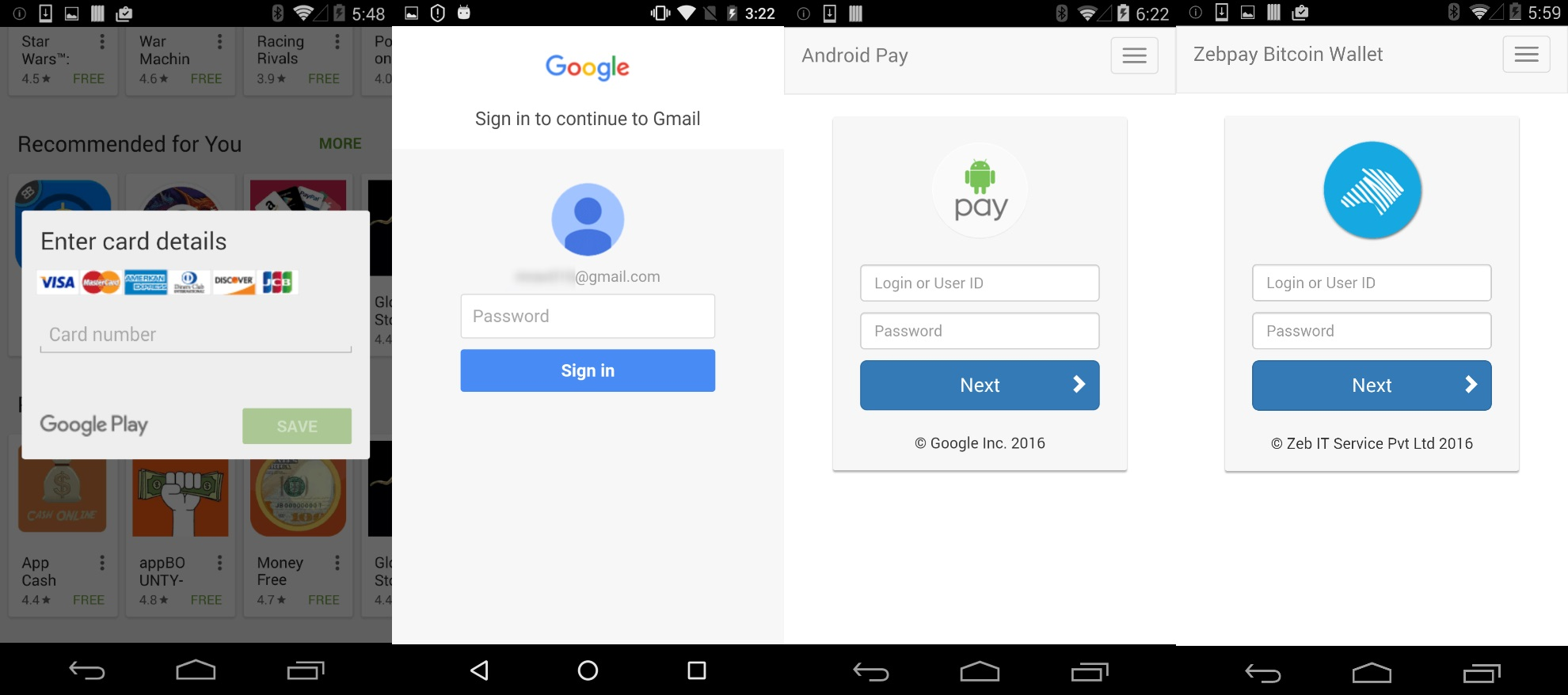 Phishing screens showed by Faketoken Android banking trojan