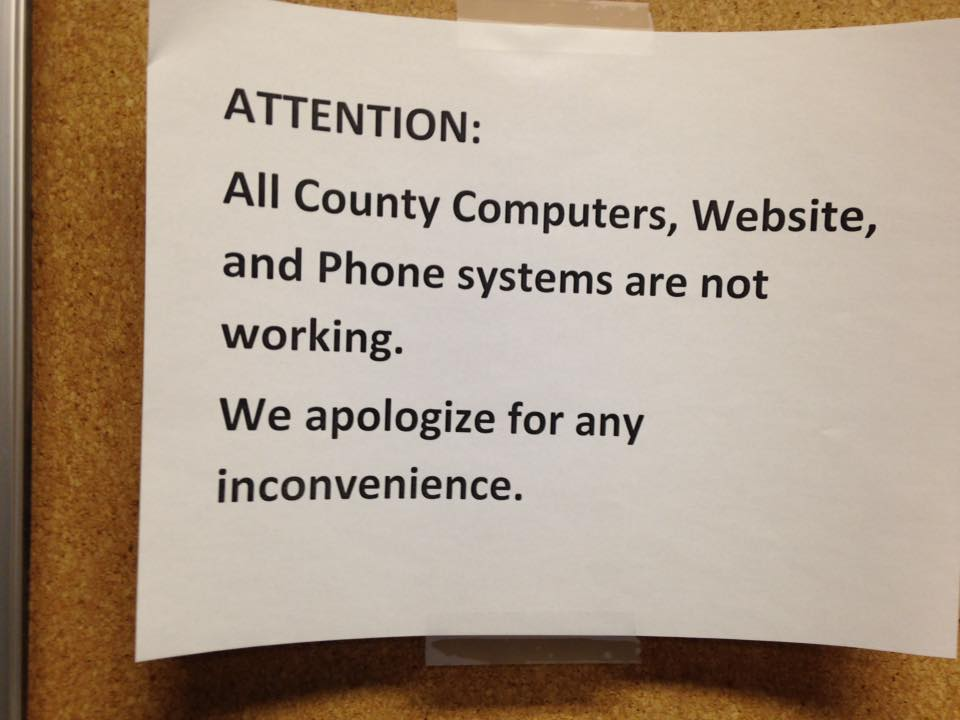 Announcement posted on Licking County office doors