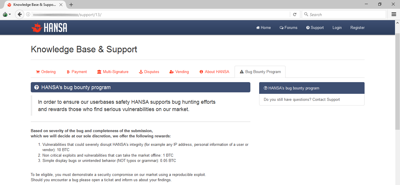 Hansa bug bounty program