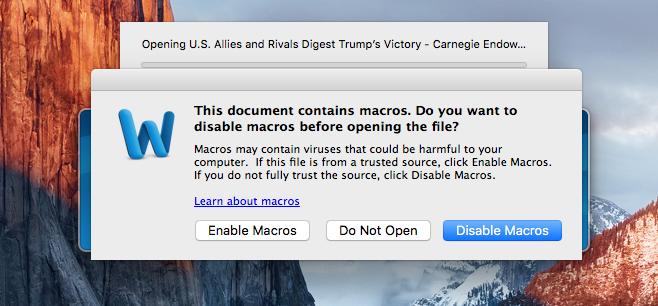 Office macro warning on macOS