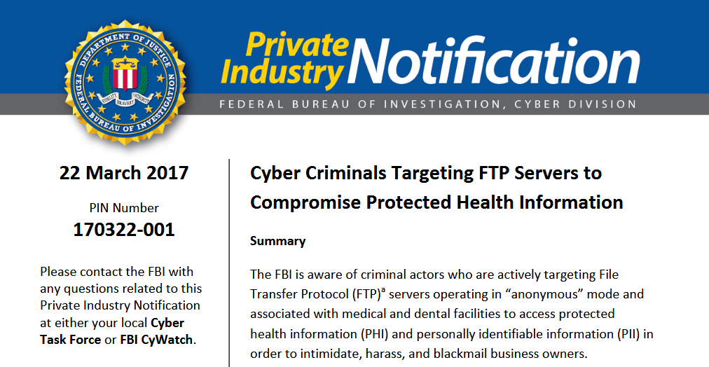FBI Alert Urges Companies to Secure FTP Servers