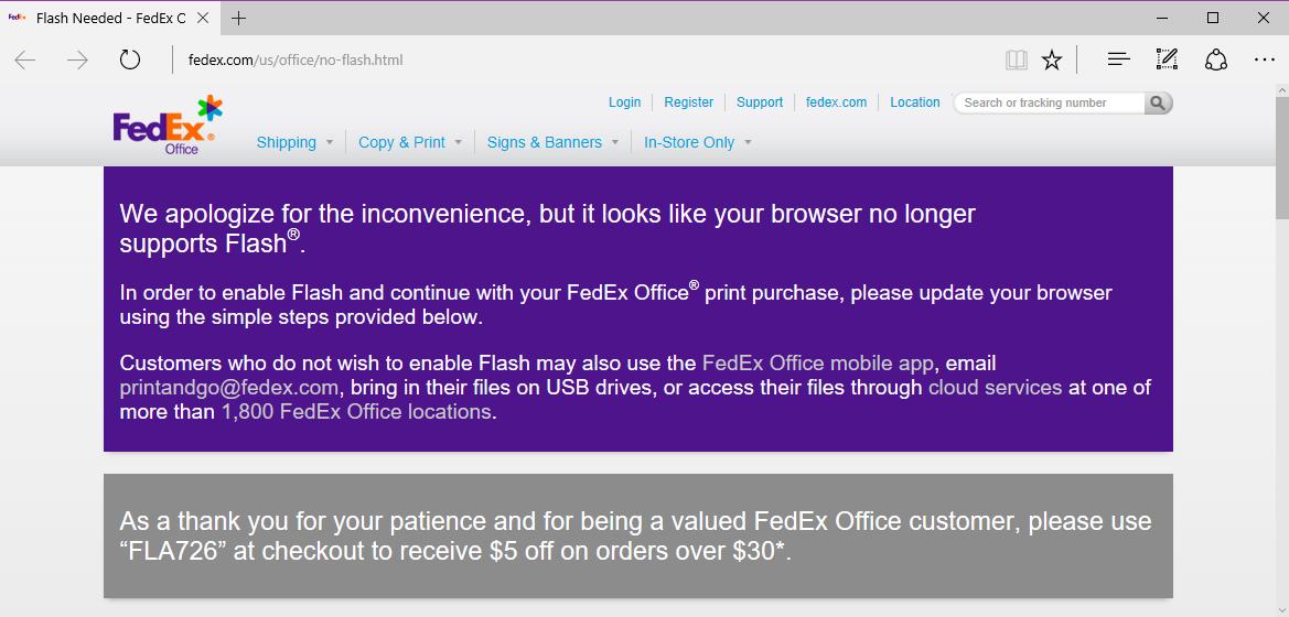 FedEx page