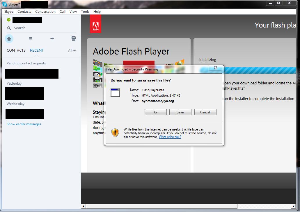Skype ad pushing fake Flash Player update