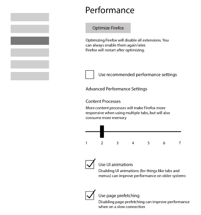 Upcoming Firefox Performance settings section