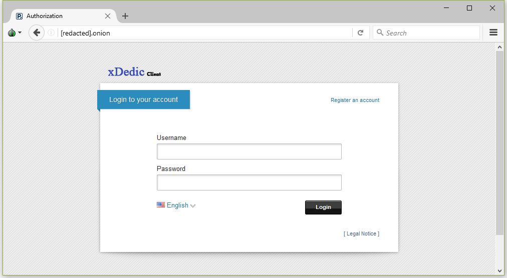 xDedic login page
