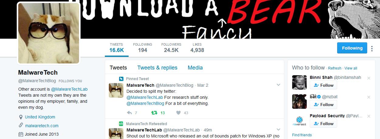 MalwareTech Twitter feed