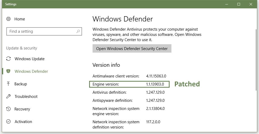 Windows Defender update