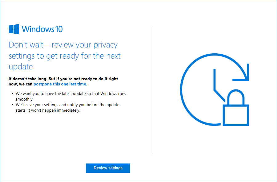 Windows 10 update reminder to keep computers safe