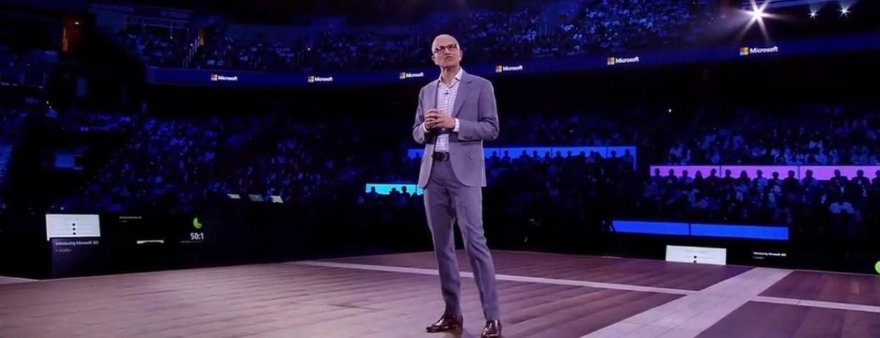 Microsoft CEO Satya Nadella announcing Microsoft 365 service at Inspire conference