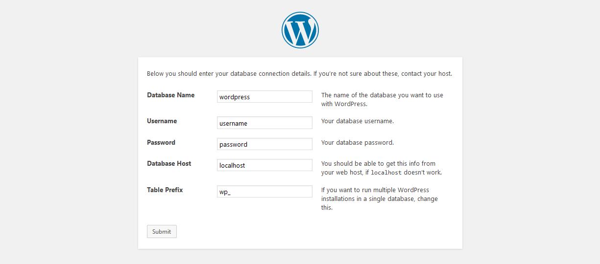 WordPress installation panel