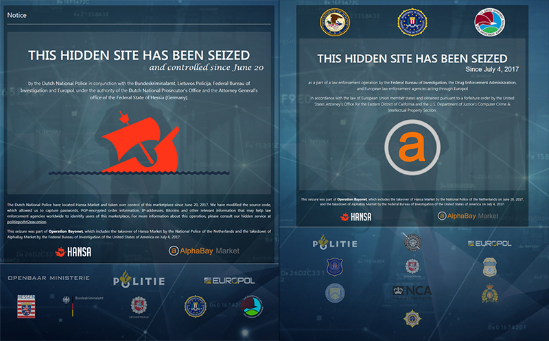 Takedown notices on the homepages of Hansa Market (left) and AlphaBay (right)