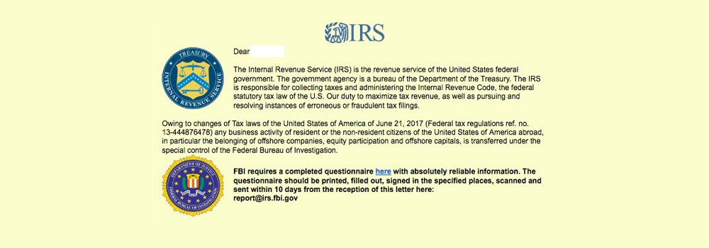 IRS scam email