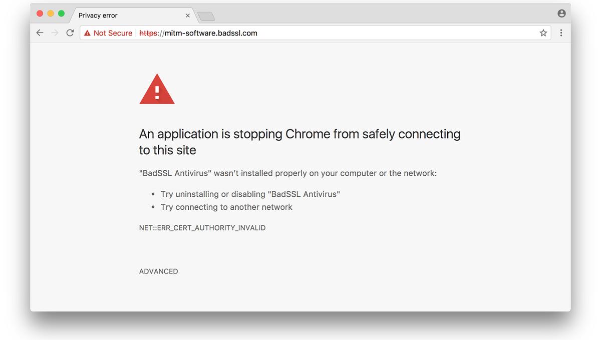 Chrome MitM error