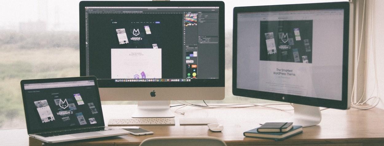 Macs on a desk