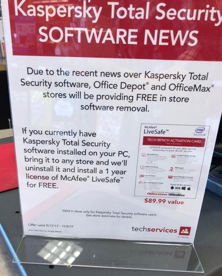 Office depot best buy pull kaspersky products from shelves reheart Choice Image