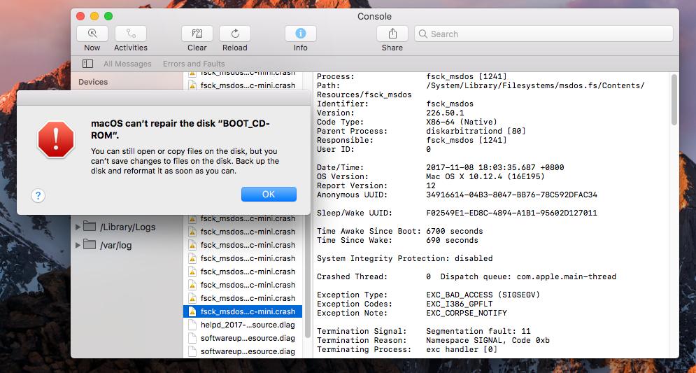 macOS fsck_msdos tool