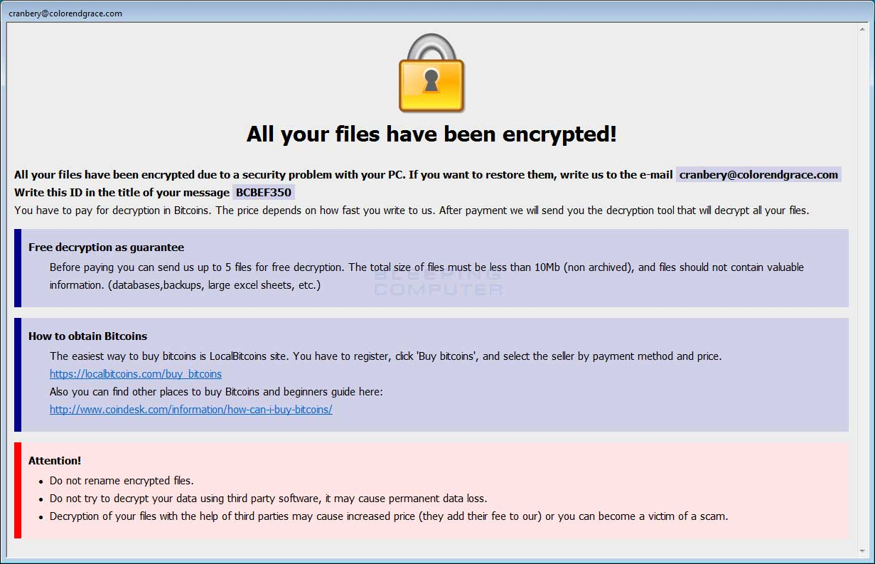 New Cobra Crysis Ransomware Variant Released