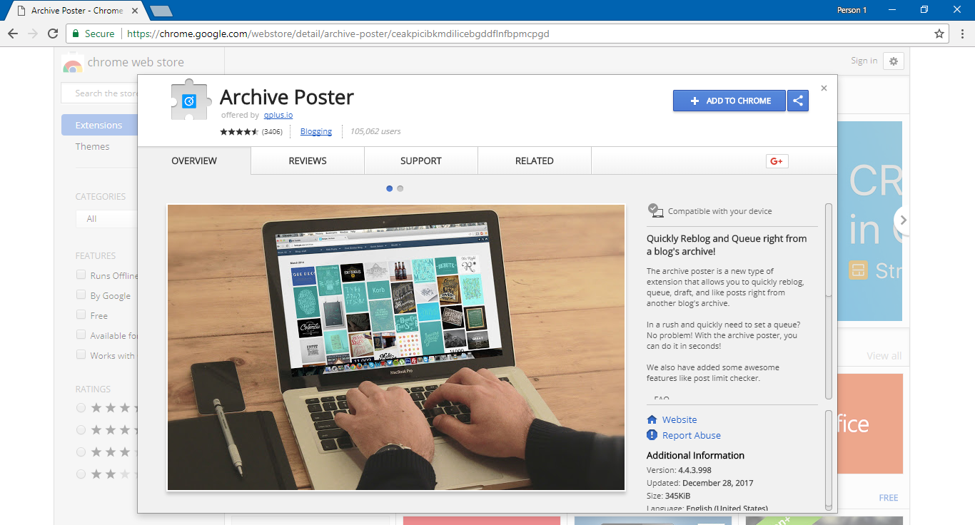 Archive Poster Chrome extension