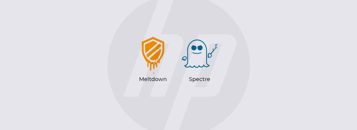 HP, Meltdown, and Spectre logos