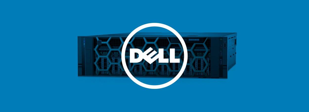 Dell logo superimposed on a Dell server