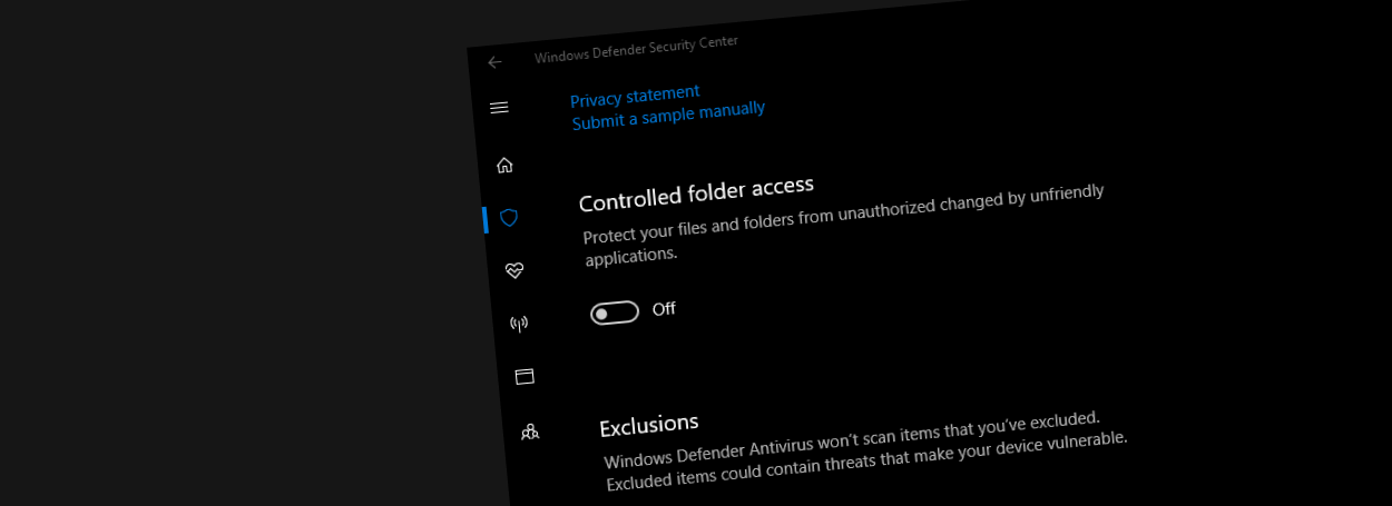 Controlled Folder Access settings