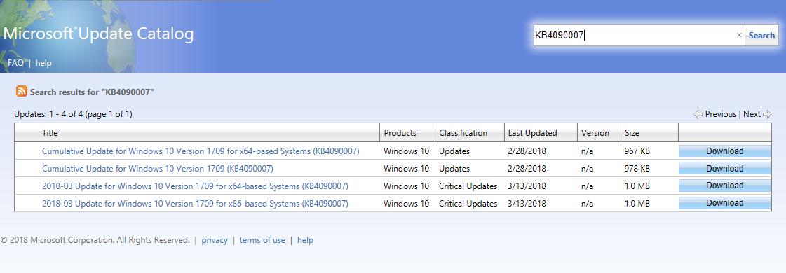 Microsoft Update Catalog portal