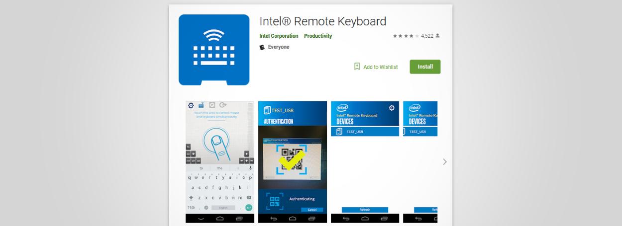 Intel Remote Keyboard app
