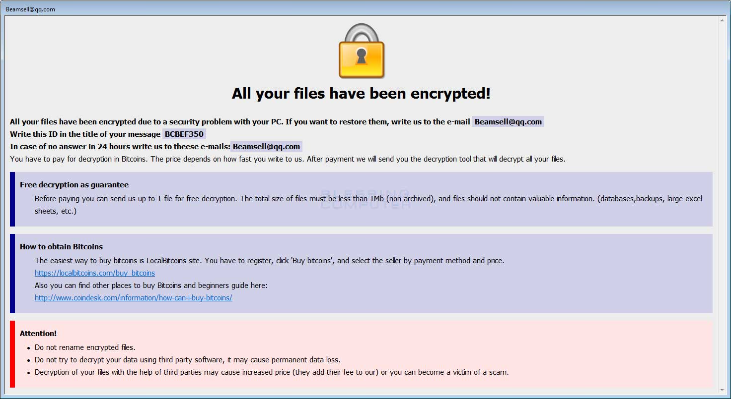 New Bip Dharma Ransomware Variant Released