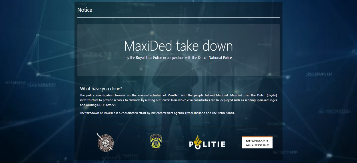 MaxiDed takedown page